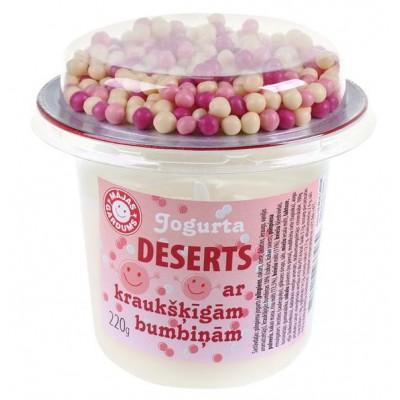 Jogurta deserts ar rozā kraukšķīgām bumbiņām 220g x 6 gab.