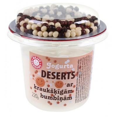 Jogurta deserts ar brūnām kraukšķīgām bumbiņām 220g