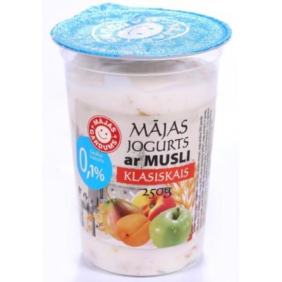 Jogurts klasiskais ar musli 0.1% 250g