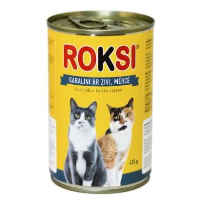 ROKSI Kaķu barība ar zivīm 415g