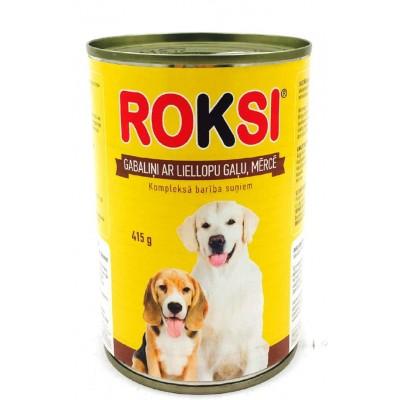 ROKSI Suņu barība ar liellopu gaļu 415g